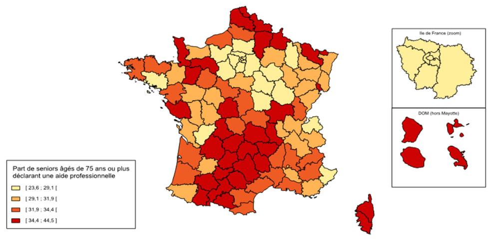 Statistique sur la dépendance des personnes âgées à domicile - Carte : recours à l'aide professionnelle