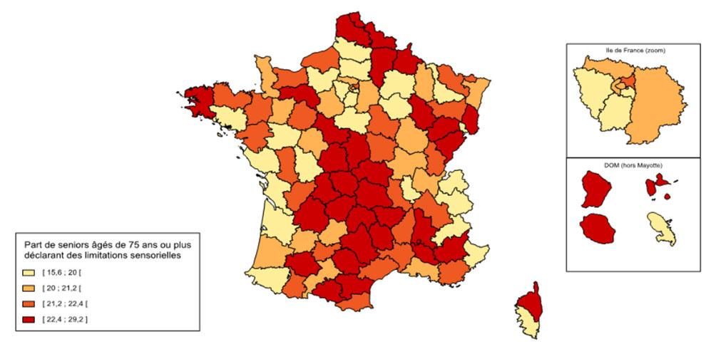 Statistique sur la dépendance des seniors : Carte des personnes âgées ayant des limitations sensorielles